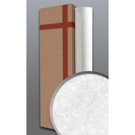 Papier peint style country EDEM 83006BR60 papier peint intissé à peindre texturé avec des ornements mat blanc 1 carton à 4 rouleaux 106 m2