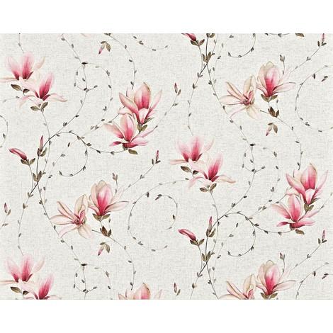 Papier peint style country fleurs XXL intissé EDEM 902-15 dessin floral aspect textile de haute qualité pink rose crème 10,65 m2