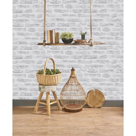 Papier Peint Support Intissé Brick Vinyle Grainé 1005 X 52 Cm Blanc