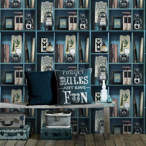 Papier Peint Support Intissé Cabinet De Curiosités Vinyle Grainé 1005 X 52 Cm Bleu