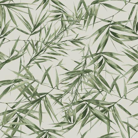 Papier Peint Support Intissé Feuilles De Bambou Vert Taupe 1005 X 52Cm
