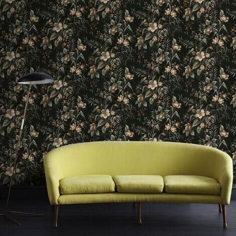 Papier Peint Support Intissé Floral Contemporain Vert 1005 X 52 Cm