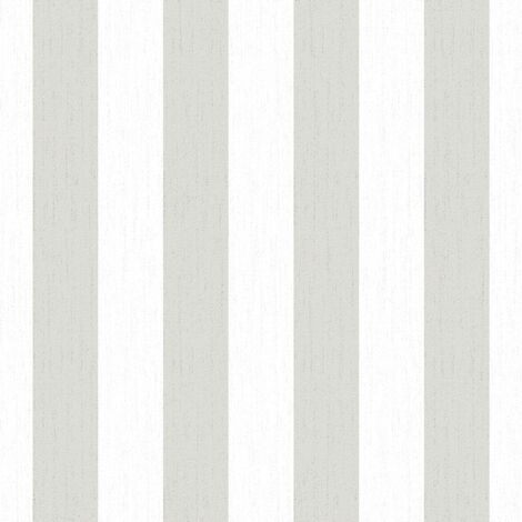 Papier peint Intissé Glitterati Rayures 1005 x 52cm Blanc, Argent