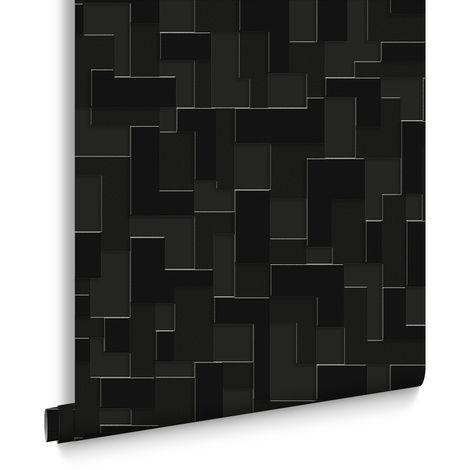 Papier Peint Support Intissé Shape &Amp Form Checker Noir 10m x 52cm