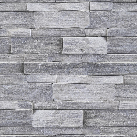 Papier Peint Support Intissé Stone Wall Vinyle Grainé 1005 X 52 Cm Gris
