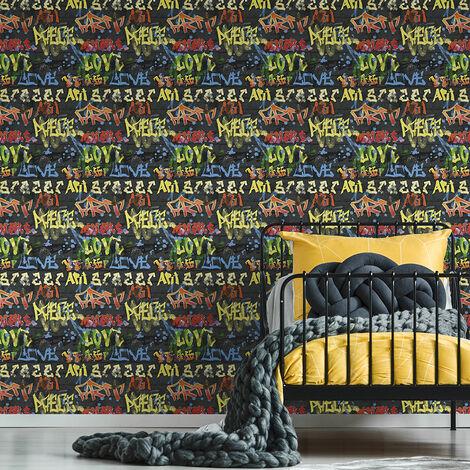 Papier peint support papier Briques Loft 1000 x 53cm Noir