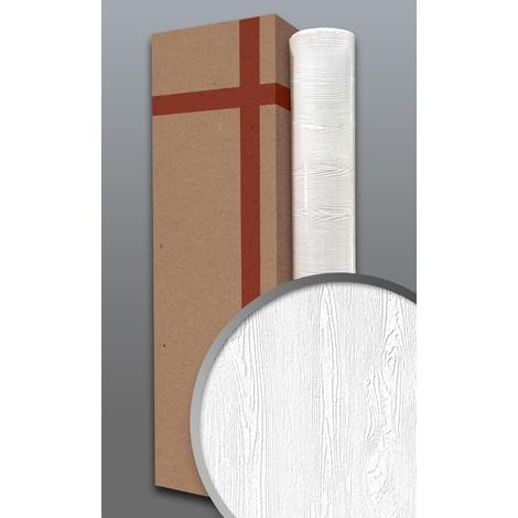 Papier peint texturé EDEM 83005BR60 papier peint intissé texturé à l'aspect de bois mat blanc 1 carton à 4 rouleaux 106 m2