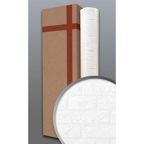 Papier peint texturé EDEM 83101BR70 papier peint intissé texturé à l'aspect de pierre mat blanc 1 carton à 4 rouleaux 106 m2