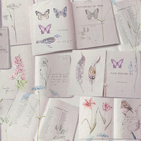 Papier peint trompe l'œil Papier peint bureau Papier peint intissé Beige / crème Bleu Rose 302491 - 10,05 x 0,53 m