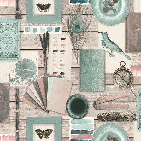 Papier peint trompe l'œil Papier peint bureau Papier peint intissé Bleu Marron Vert 366811 - 10,05 x 0,53 m