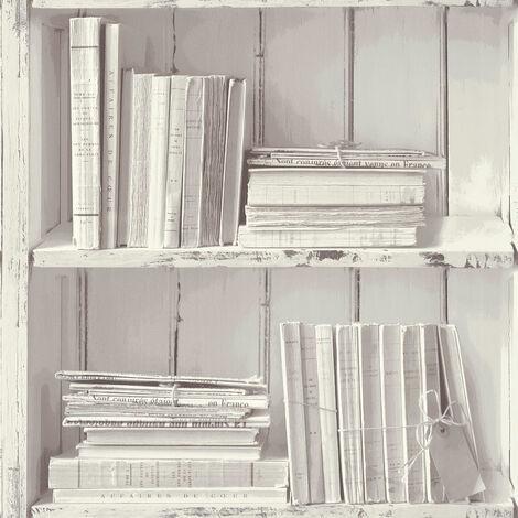 Papier peint trompe l'œil Papier peint bureau Papier peint intissé Gris Blanc 303882 - 10,05 x 0,53 m