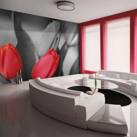 Papier peint - Tulipes rouges sur fond noir et blanc .Taille : 350x270
