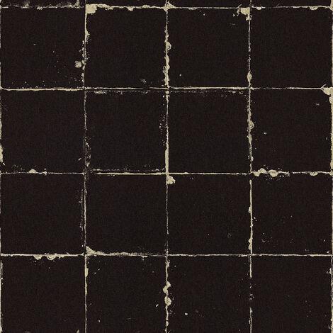 Papier peint vintage Papier peint bureau Papier peint intissé Beige / crème Anthracite 366641 - 10,05 x 0,53 m