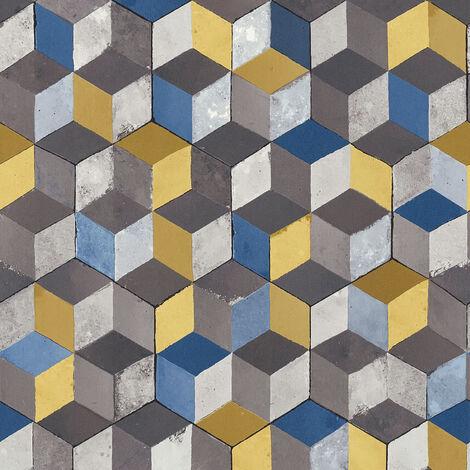 Papier peint vintage Papier peint salle de bain Papier peint intissé Bleu Marron Gris 366622 - 10,05 x 0,53 m