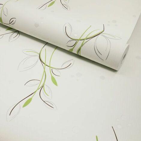 Papier peint vinyle expansé sur intissé - Basique - Motif floral vert pois satiné - Rouleau(x)