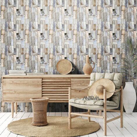 Papier peint Vinyle Mur en bois destructuré
