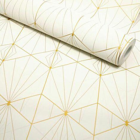 Papier peint vinyle sur intissé - Art déco - Crème motif géométrique or - Rouleau(x)