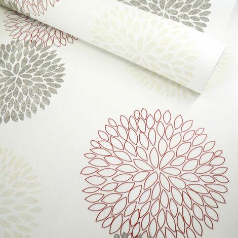 Papier peint vinyle sur intissé - Botanique - Pompons rouge, gris et or - Rouleau(x)