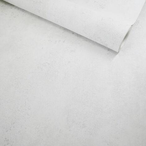Papier peint vinyle sur intissé - Casual Minéral - Béton blanc touches argentées - Rouleau(x)