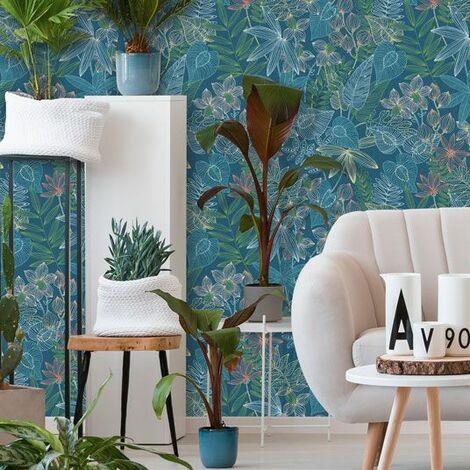 Papier peint vinyle sur intissé - Jungle - Paradise bleu navy - Rouleau(x)