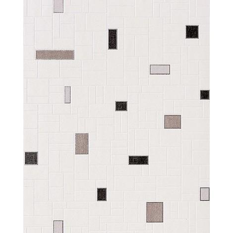 Papier peint vinyle très résistant EDEM 584-20 aspect carrelage decoratif mosaique cuisine bain blanc gris noir