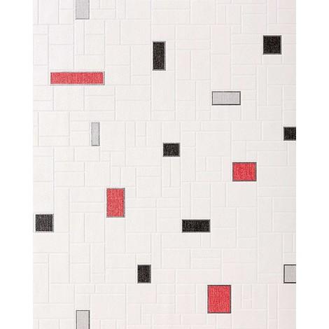 Papier peint vinyle très résistant EDEM 584-26 aspect carrelage decoratif mosaique cuisine bain blanc noir gris rouge