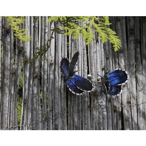Papillon à fixer en métal recyclé Bleu
