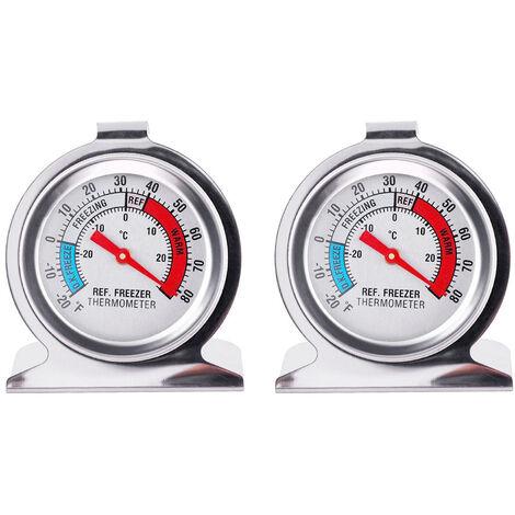 Paquet De 2 Refrigerateur Thermometre -20 ¡æ ~ 20 ¡æ / -20 ¨H ~ 80 ¨H Classique En Acier Inoxydable Refrigerateur Thermometre Grand Cadran Avec Indicateur Rouge Thermometre