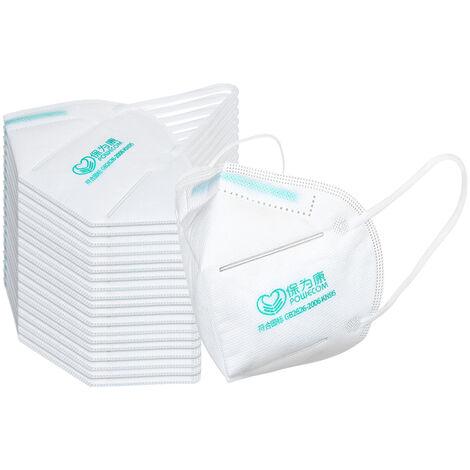 Paquet De 20 Kn95 Masque 4 Couches Confortables 95% Filtration A Usage Unique Masques Kn95 Non-Tisse Masque Tissu Visage
