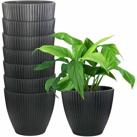 """main image of """"Paquet de 8 pots en plastique pour plantes, jardinières blanches de 6 pouces pour plantes d'intérieur, petits pots de fleurs pour suspension de plantes, plantes succulentes, herbes, petites plantes de serpent, plantes non incluses"""""""