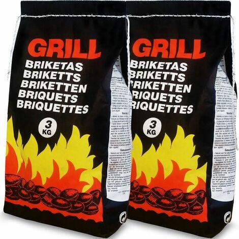 Paquet de briquettes pour barbecue Sac de charbon de bois BBQ Grill - Quantité au choix 6 à 21kg