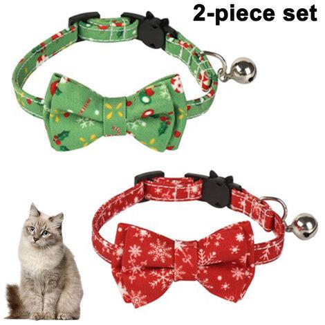 Paquet / ensemble de 2 collier de chat de Noël Breakaway avec joli nœud papillon et cloche pour fournitures de sécurité réglables pour animaux de compagnie, style 1