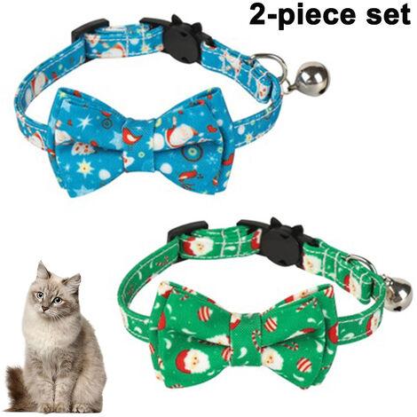 Paquet / ensemble de 2 collier de chat de Noël Breakaway avec joli nœud papillon et cloche pour fournitures de sécurité réglables pour animaux de compagnie, style 2