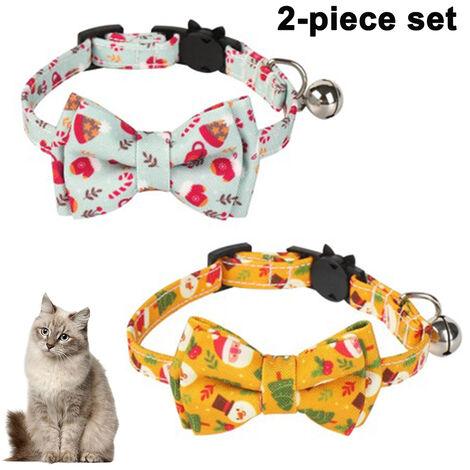 Paquet / ensemble de 2 collier de chat de Noël Breakaway avec joli nœud papillon et cloche pour fournitures de sécurité réglables pour animaux de compagnie, style 3