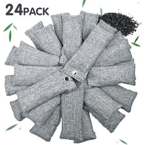 Paquete 24 * 50 g de bambu bolsa de carbon, carbon de lena para el hogar Activado Mas fresco absorbedor de olores Quitar, gris