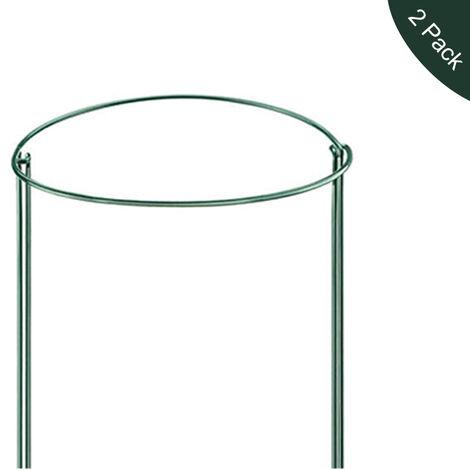 Paquete de 2 estacas de soporte de jardin verde de metal medio redondo, 9.8 '' de ancho x 15.7 '' de alto