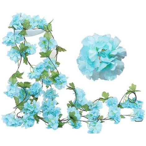 Paquete de 2 guirnaldas de flores de vid de cerezo falsas de 230 cm, hiedra artificial, colgante de hoja verde, guirnalda de seda para interior, exterior, hogar, hotel, jardín, fiesta, boda, decoración artística (azul)