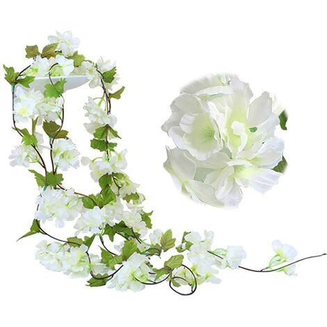 Paquete de 2 guirnaldas de flores de vid de cerezo falsas de 230 cm, hiedra artificial, colgante de hoja verde, guirnalda de seda para interior, exterior, hogar, hotel, jardín, fiesta, boda, decoración artística (blanco)