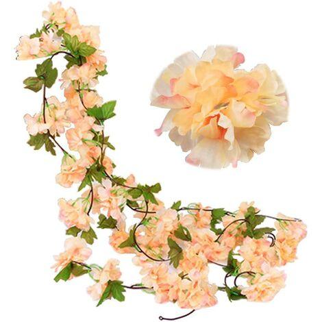 Paquete de 2 guirnaldas de flores de vid de cerezo falsas de 230 cm, hiedra artificial, colgante de hoja verde, guirnalda de seda para interior, exterior, hogar, hotel, jardín, fiesta, boda, decoración artística (champán)