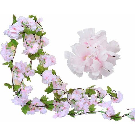 Paquete de 2 guirnaldas de flores de vid de cerezo falsas de 230 cm, hiedra artificial, colgante de hoja verde, guirnalda de seda para interior, exterior, hogar, hotel, jardín, fiesta, boda, decoración artística (rosa)
