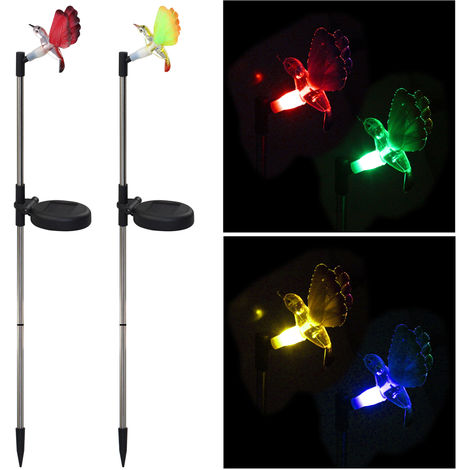 Paquete de 2, Jardin Solar LED Estaca luz multi que cambian de color del jardin del colibri luces de la decoracion