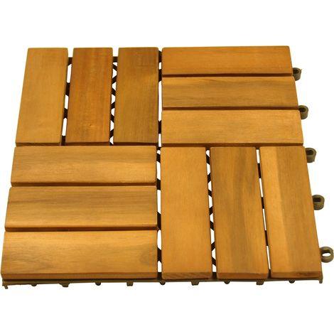 Paquete de 30 baldosas de madera de acacia, baldosas de terraza aceitadas