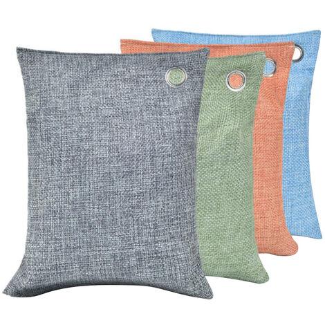 Paquete de 4 * 200 g de bambu bolsa de carbon, carbon de lena para el hogar Activado Mas fresco absorbedor de olores Quitar, gris