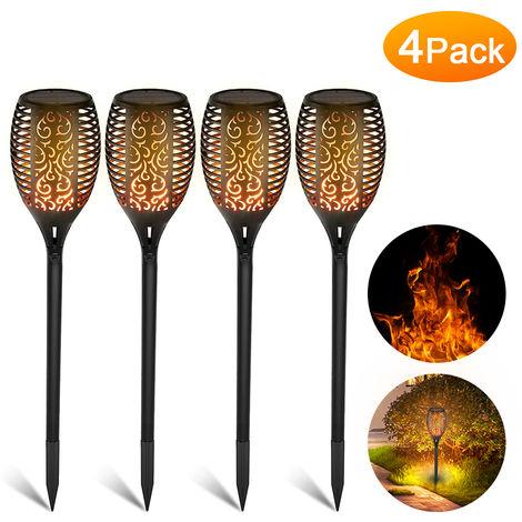 Paquete de 4, lampara de llama parpadeante solar para exteriores 33LED
