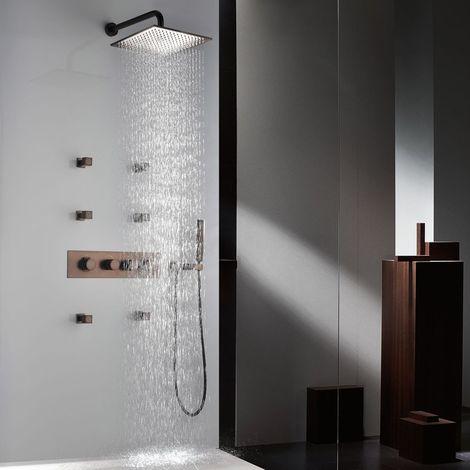 Paquete de ducha oculta termostática de cobre con chorros de spray para el cuerpo
