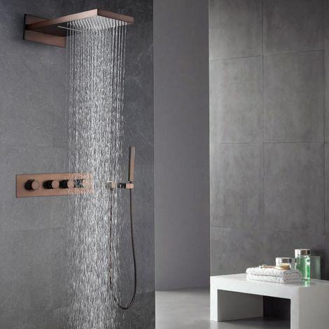 Paquete de ducha termostática oculta con acabado de cobre y efecto lluvia