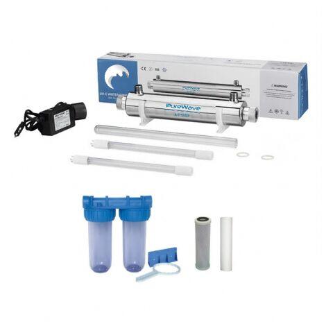 Paquete esterilizador de 16w - 1 lámpara de repuesto - filtración de agua de doble filtro - filtros