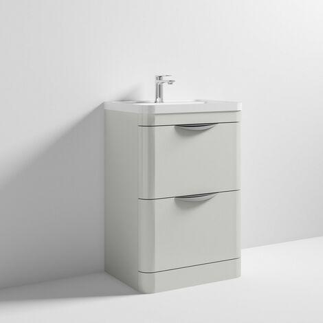 Parade 600mm Grey Mist Gloss Floor Standing Cabinet & Polymarble Basin
