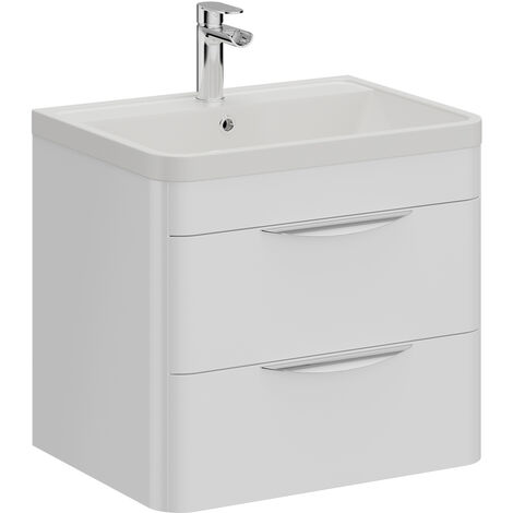 Parade 600mm Wall Hung Vanity Unit Including Polymarble Basin with 1 Tap Hole