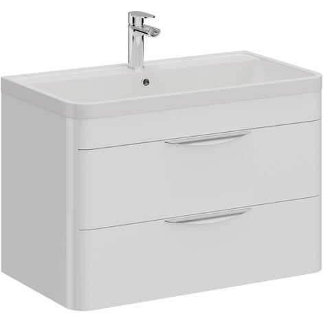 Parade 800mm Wall Hung Vanity Unit Including Polymarble Basin with 1 Tap Hole